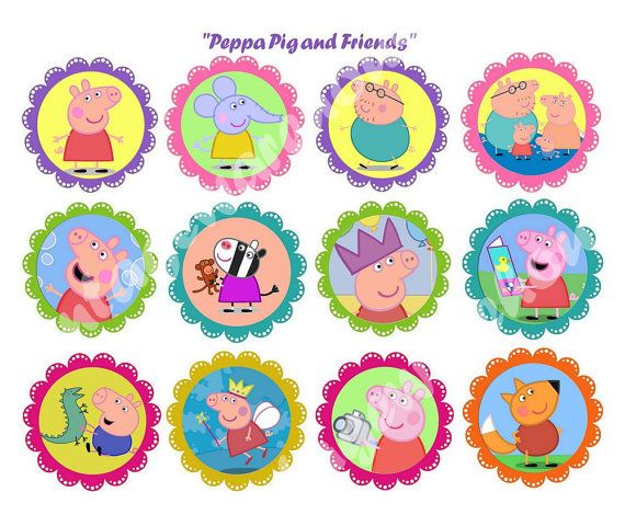 PEPPA Pig and Friends CRAFT CIRCLES -Instant Download Printable Cupcake Toppers, Round Stickers, Party Supplies - 1 inch,2 inch and 2.5 inch on Etsy, $2.50