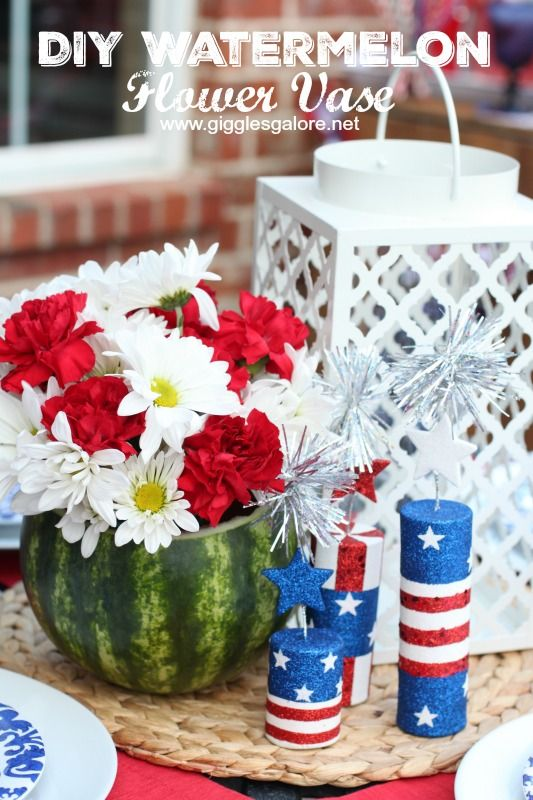 This DIY Watermelon Flower Vase is a super easy project that will make a statement at all of your summer parties.