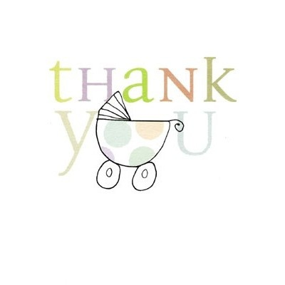 Pack of 10 mini 'New Baby Thank you' cards illustrated by Caroline Gardner with a pram - priced at £4.75