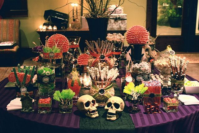 halloween sweets table (at a halloween-themed wedding)