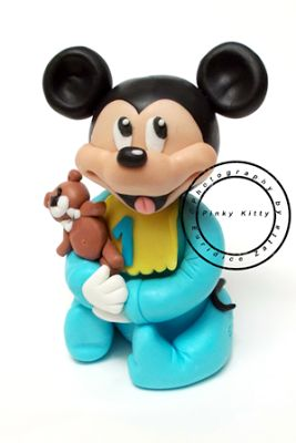 Pinky Kitty Bijoux: Cake Topper in Pasta di Zucchero Baby Mickey Mouse...