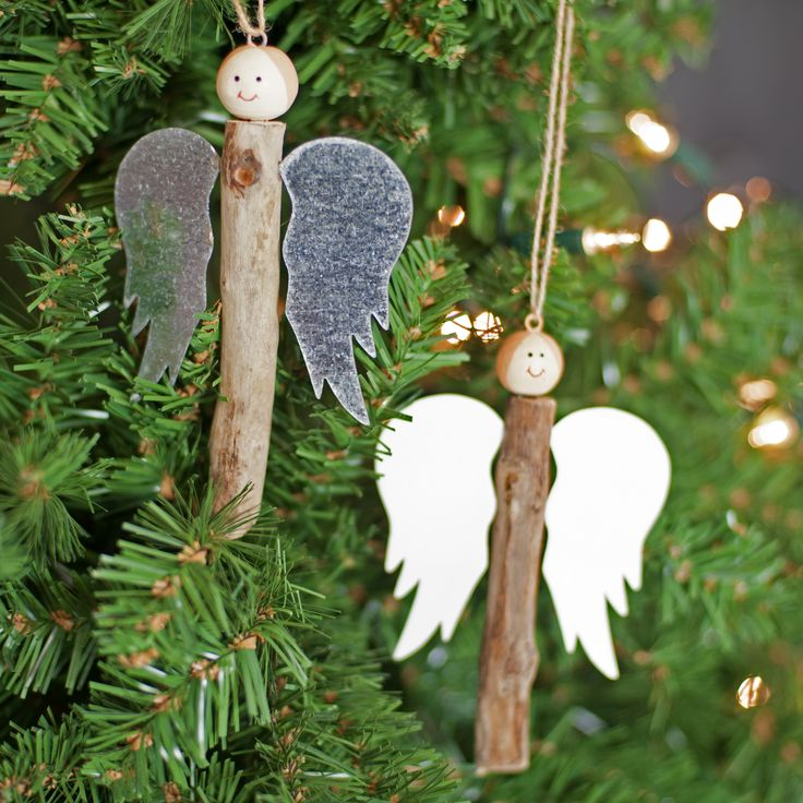 Driftwood Peg Angel Christmas Decoration | Made from a combination of a driftwood 'body' and metal wings. | Christmas
