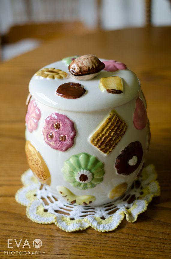 Napco Cookies all over collector cookie jar, vintage 1950s cookie jar on Etsy, $80.00