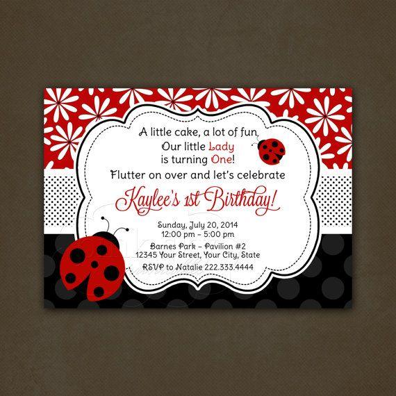 Ladybug Birthday Invitations Printable, Flowers, Ladybug, First Birthday, Girls Birthday, Red and Black on Etsy, $12.00