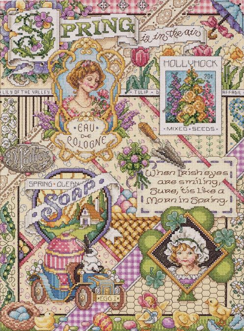 Spring Sampler Counted Cross Stitch Kit-12 Inch X 16 Inch 14 Count 049489234919 #Janlynn