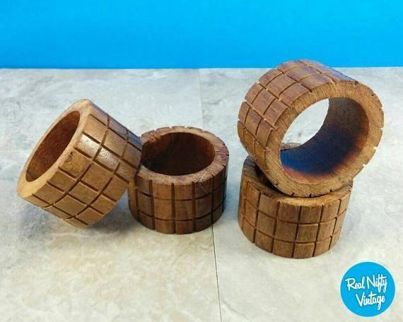 Vintage Mid-Century Wood Napkin Rings - Set #housewares @EtsyMktgTool http://etsy.me/2hjQibd