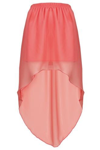 Salmon chiffon tail skirt.