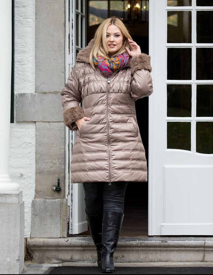 Down coat with fur trim by DNY  Shop Now: http://www.navabi.co.uk/coats-dny-down-coat-with-fur-trim-beige-17435-0100.html?utm_source=social-media&utm_medium=pinterest&utm_campaign=newarrivals18112013  #navabi #newarrivals