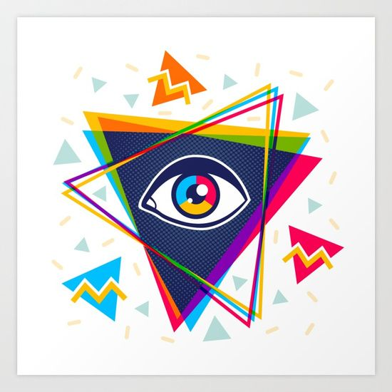 Pyramid with eye. 90's style. Vintage fashion.  Collect your choice of gallery quality Giclée, or fine art prints custom trimmed by hand in a variety of sizes with a white border for framing.