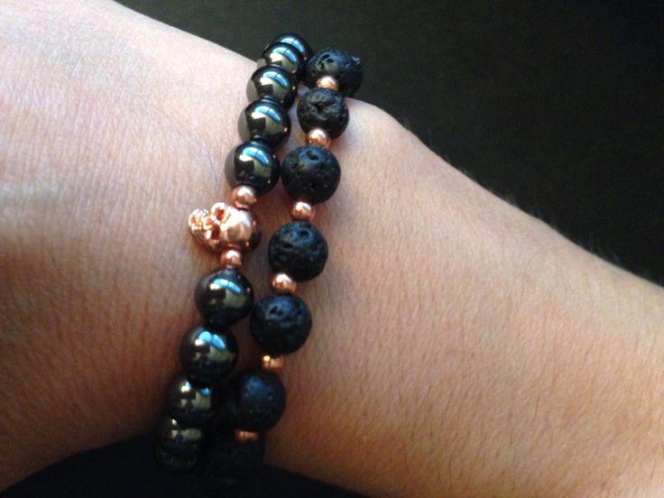 Hematite with skull & lava bracelet