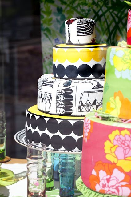 I saw these and took pictures last week in Sweden!! Marimekko fabric cakes