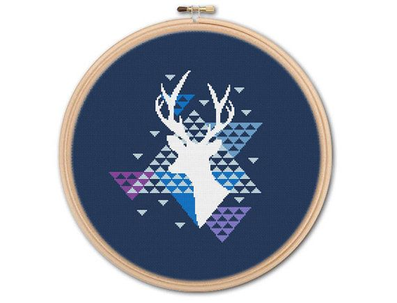 Geometric Deer Counted Cross stitch Pattern PDF by KHANNAandILAN
