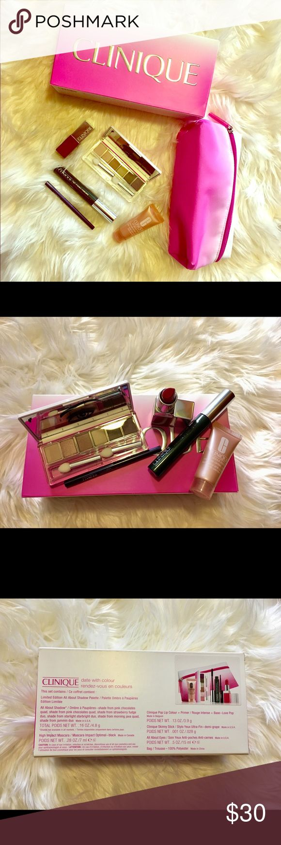 Clinique Gift Set New Clinique Date with Colour Gift set. Includes: Limited Edition All About Shadow Palette, High Impact Mascara - Black, Pop Lip Colour in Love Pop + Primer, Skinny Stick in Grape, and the beautiful Pink makeup bag. Clinique Makeup