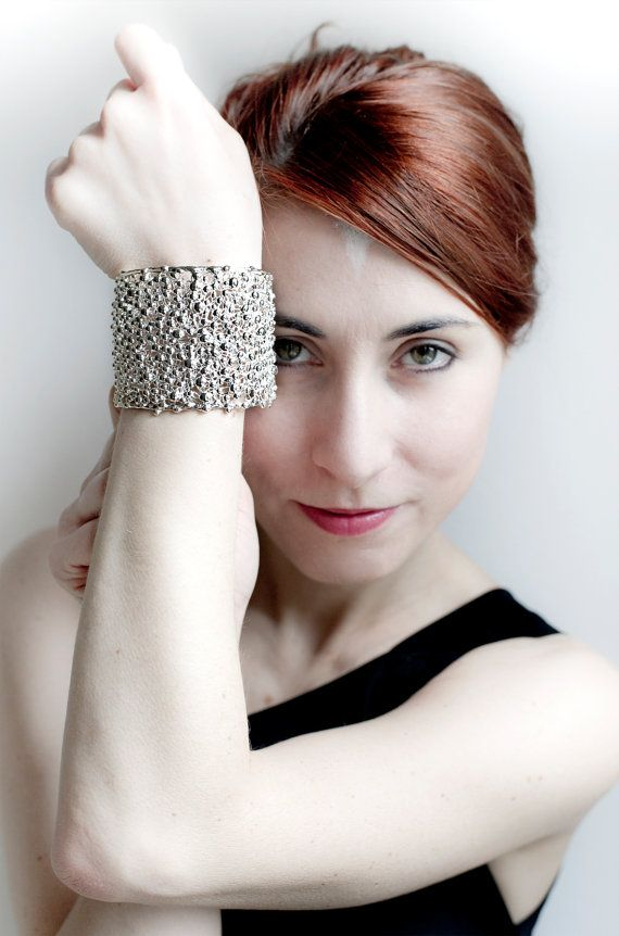 Silver cuff bracelet with drop