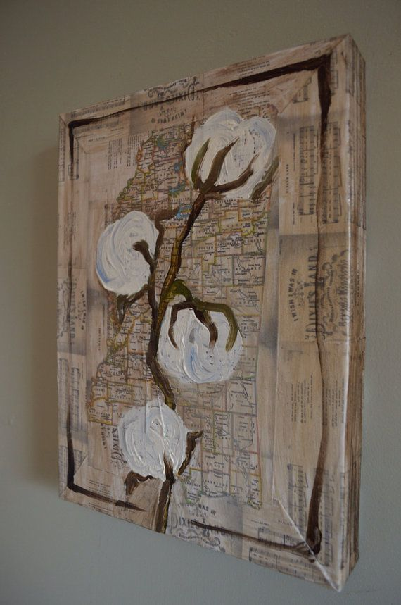 Mississippi cotton boll stalk map Dixie oil painting on canvas on Etsy, $95.00