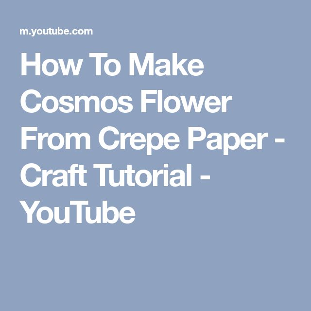 How To Make Cosmos Flower From Crepe Paper - Craft Tutorial - YouTube