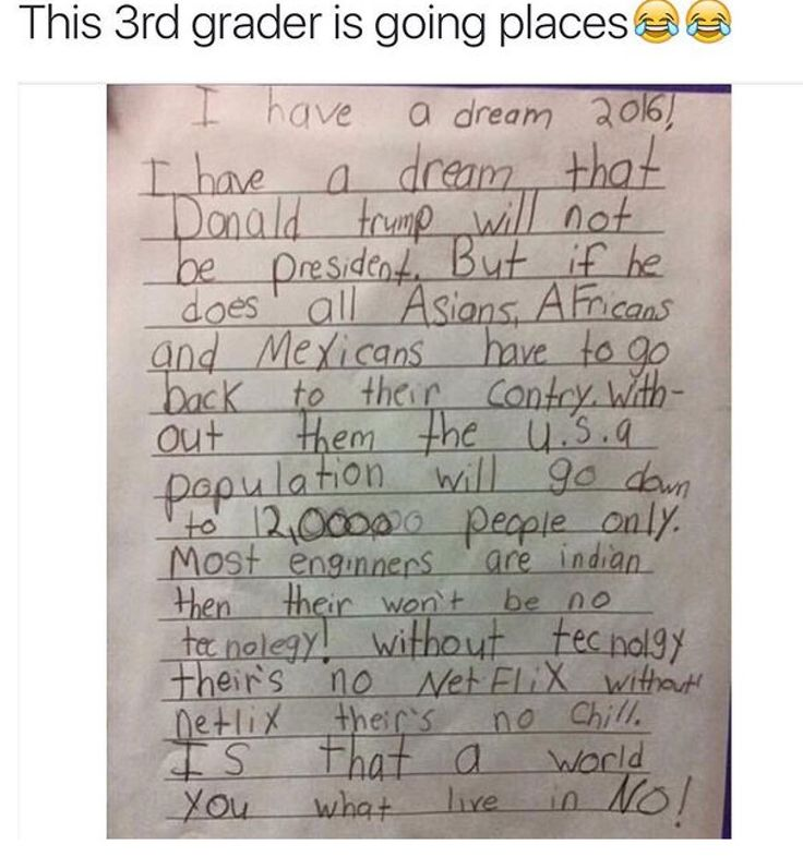 Not sure if this funny or sad...even a 3rd grader gets it!