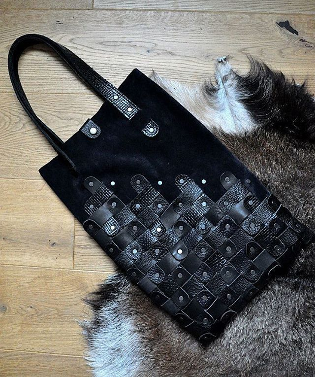 Velour + leather. Black twisted leather plant bag by @burtsevbags