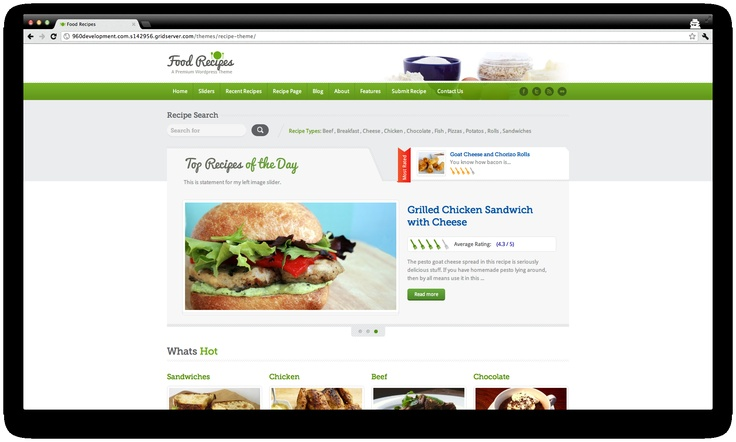 Food Recipes is a feature rich and beautifully designed Premium WordPress Theme for food related web sites and businesses. 100% handcrafted!