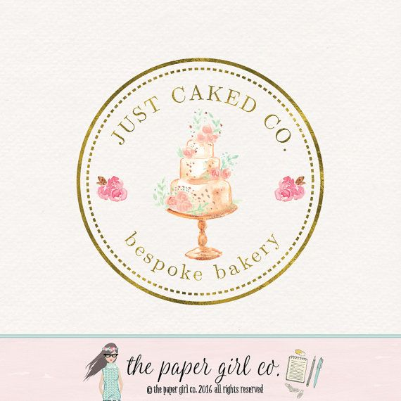 cake logo design watercolor cake logo bakery by ThePaperGirlCo https://www.kznwedding.dj