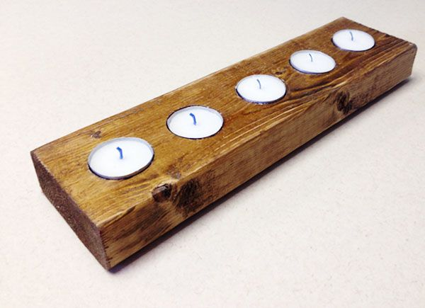 DIY tea light candle holder from a piece of wood