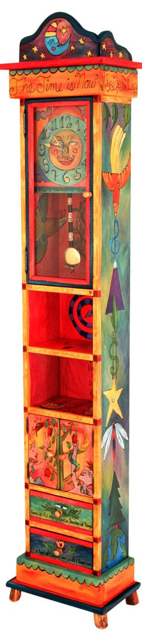 Loft Ideas:  Would look great in a loft!  A Uniquely Colorful Hand-Crafted Grandfather Clock