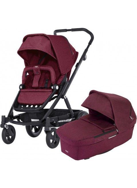 Britax Go Next Kinderwagen Set Schwarz/Wine Red Melange - Kleine Fabriek