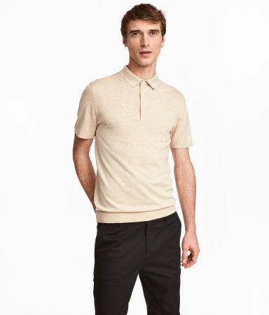 Tennistr ja i sidenmix beige herr h m se kl der for H m polo shirt mens
