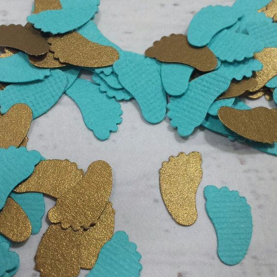 Turquoise and Gold Baby Shower - Gold and Blue Sprinkle Decor - Turquoise Baby Feet Confetti