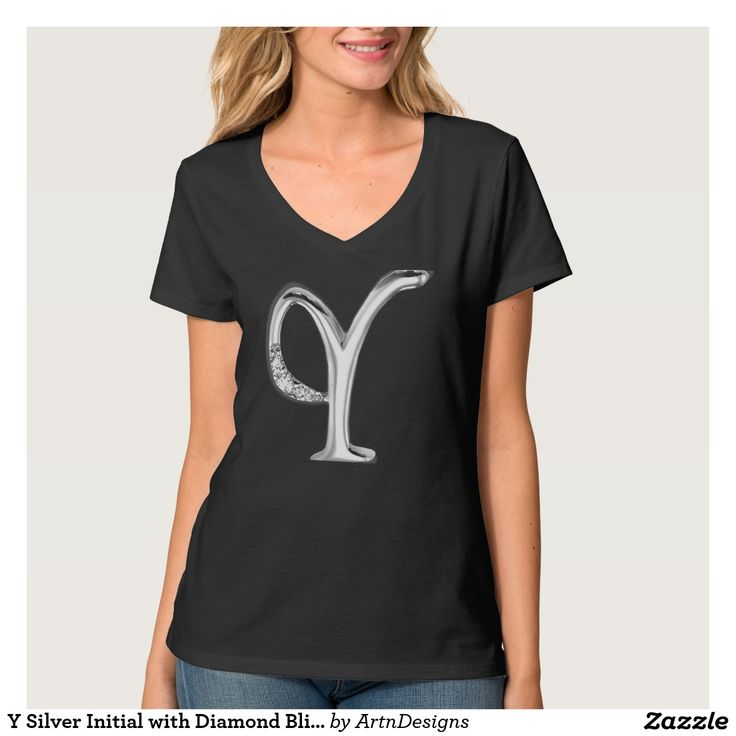 Y Silver Initial with Diamond Bling Embellishment Tee Shirt