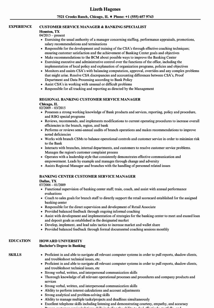 Customer Support Specialist Resume Lovely Banking Customer