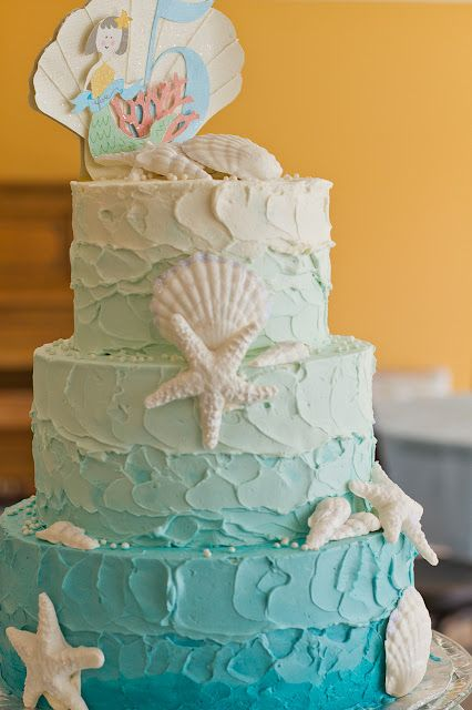 Cute ombre mermaid cake.. I won't need anything near this big, but i could use the same idea and make it a lot smaller