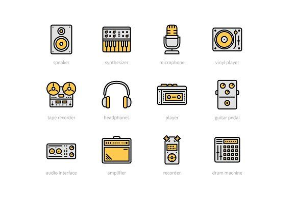 Recording Studio Color Icons Line Icon Icon Email Newsletter Template