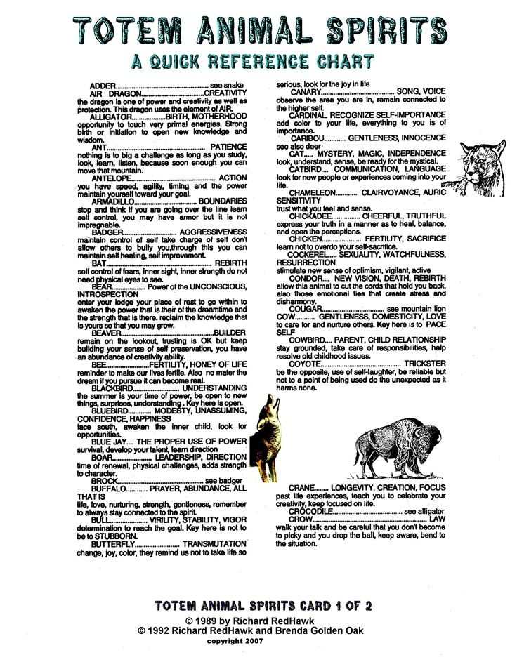 Spirit Animal Meanings | the various animals of the world. The first 2 charts show the animal ...