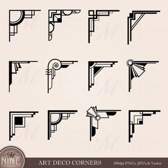 ART DECO CORNERS Clipart Digital Clip Art, Instant Download, Vintage Design Elements Antique Borders Clip Art Black Silhouette