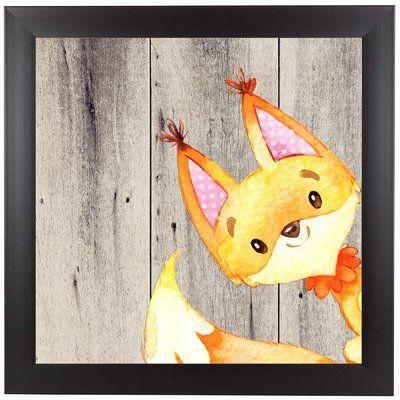 East Urban Home 'Woodland Friends Wild Animal Fox Square' Framed Graphic Art Print