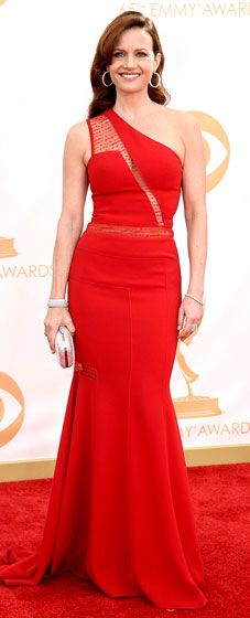 Carla Gugino: 2013 Emmy Awards in a one-shouldered crimson gown by Georges Chakra, Norman Silverman and De Marco jewelry, clutch by Judith Leiber and Brian Atwood shoes.