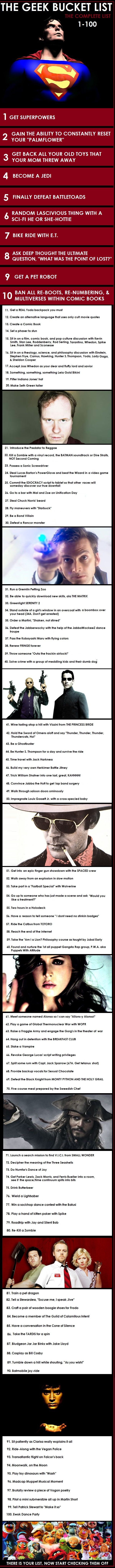 THE GEEK BUCKET LIST: 100 Geektastic Things to Do Before You Kick It.