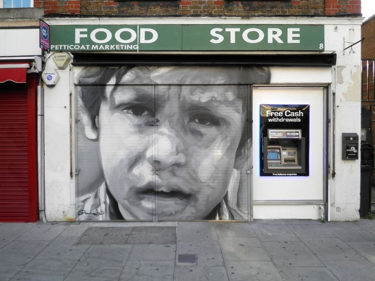 mural painted on Bell Lane, Tower Hamlets E1 7LA, London, by photorealistic artist Guido van Helten, in a collaborative project with East End photographer, Phil Maxwell (2013). guidovanhelten.com