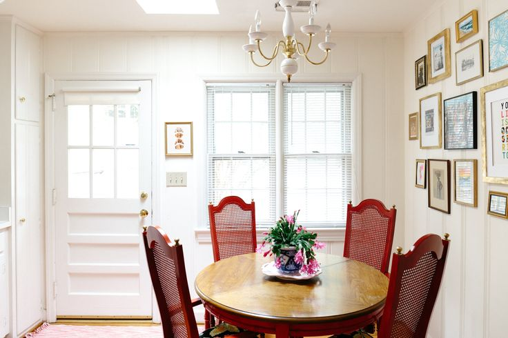 The Stanley Table and Chairs were thrifted and Kate repainted & recovered them herself. The same Rustoleum Regal Red from the China cabinet for the wood, with fabric for cushions from Front Door Fabrics