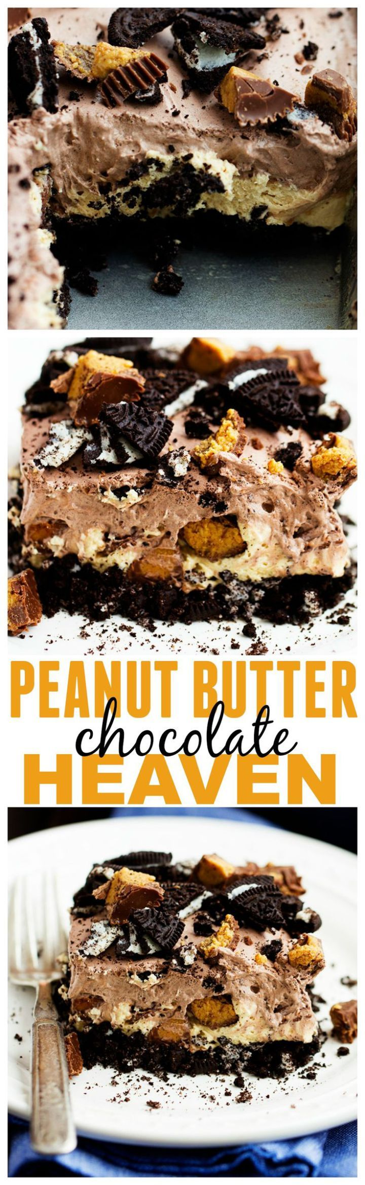 Peanut Butter Chocolate Heaven - An oreo crust, a creamy peanut butter cheesecake center with peanut butter cups, and a chocolate pudding whipped topping. And no baking required! Can you see why this is heaven?