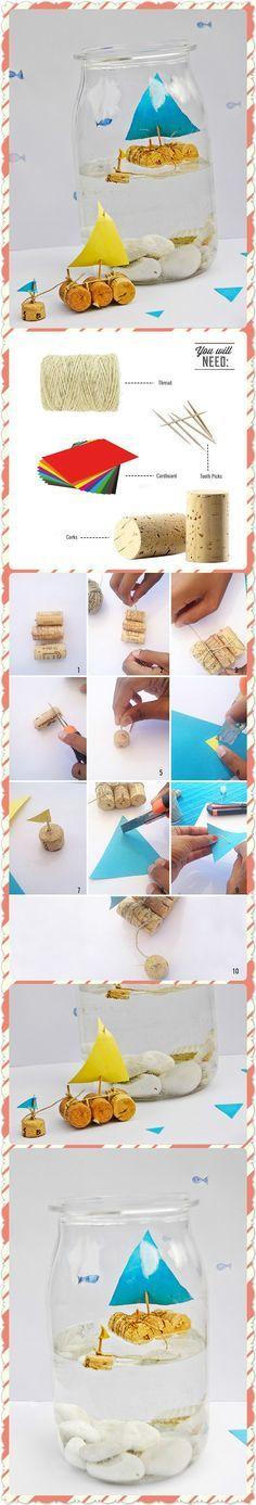 Spring Kids Craft; DIY Cork Sailboat In A Jar. •°•°•° Lente Kinder Knutsel; Een Zeilbootje van Kurk in een Potje :-D