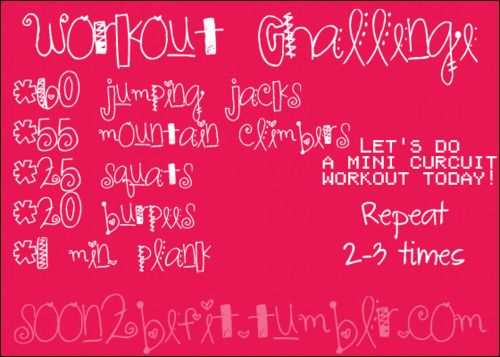 Workout Challenge:  60 Jumping Jacks, 55 Mountain Climbers, 25 Squats, 20 Burpees, 1m. Plank.  Repeat 2-3 times.  Let's Do A Mini-Circuit Workout Today! Basically KMDC Training.