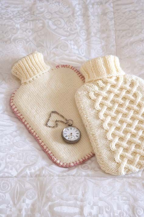 Aran & stocking stitch hot-water bottle cover