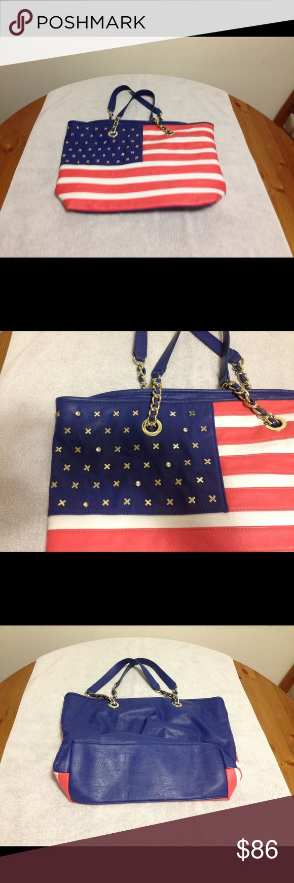 Betsey Johnson Large American Flag Satchel Betsey Johnson Large American Flag Satchel....I will have to measure this when I get home for you, but for now, it's just REALLY BIG! I took pics before I ran out to work. The only issues are tiny scuffs in 3 of the 4 corners...there is a pic of the worst one. This purse is amazing! Betsey Johnson Bags Satchels