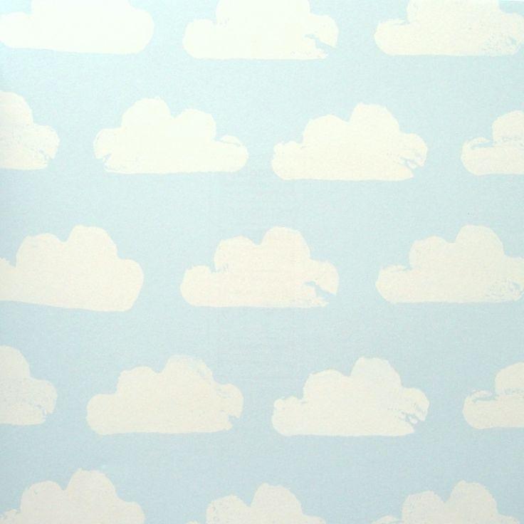 Vliestapete 'Wolken' hellblau/cremeweiß