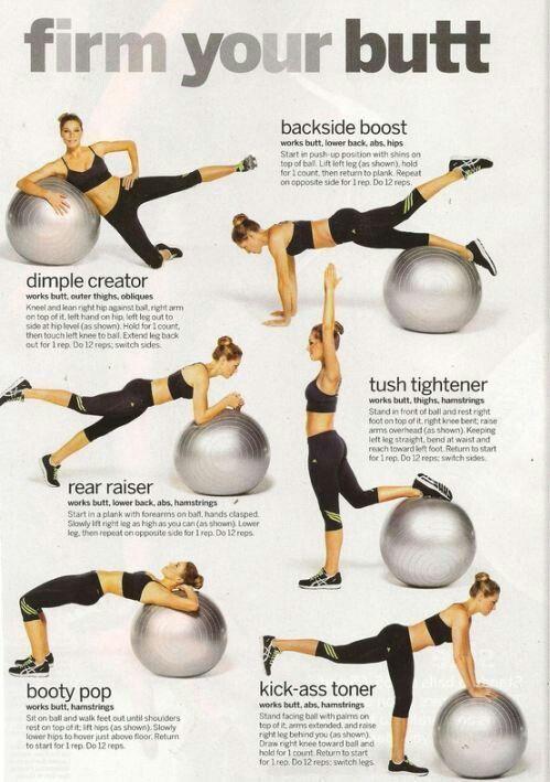 Exercise ball butt workouts | Work it | Pinterest | Butt ...