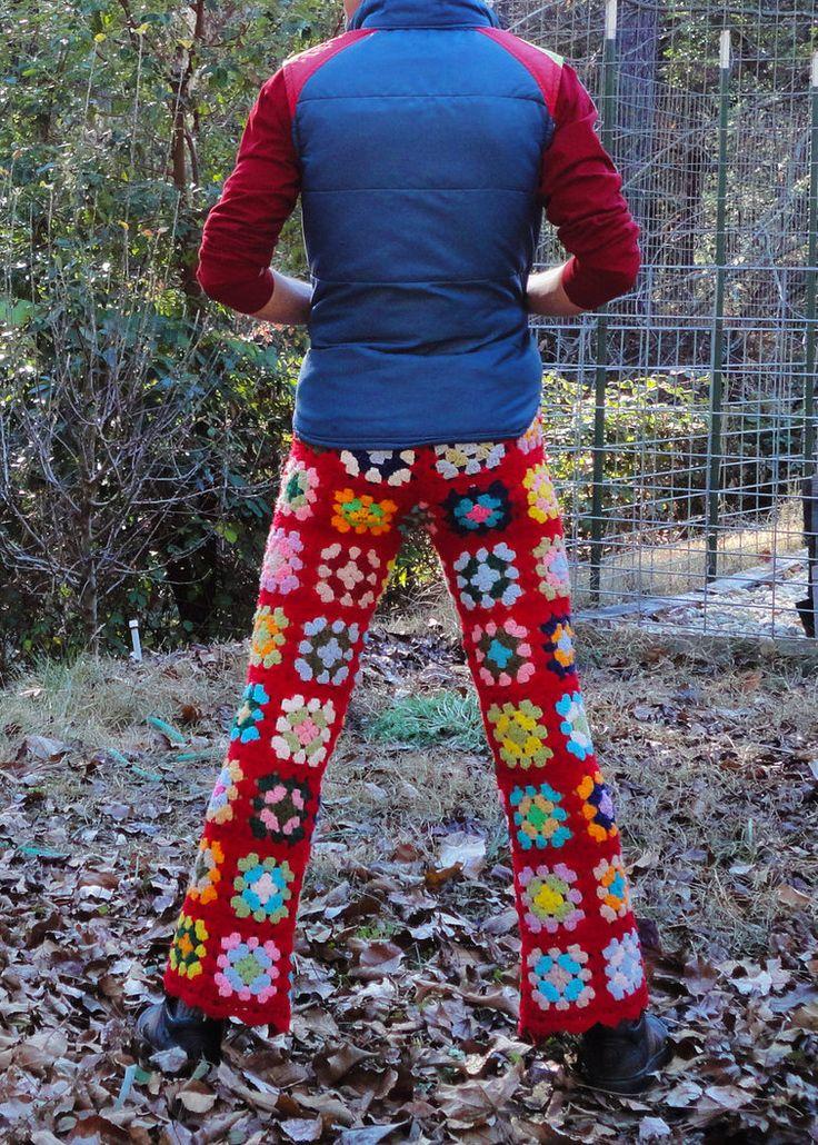Crochet Pants Parade by LordvonSchmitt men in crocheted pants