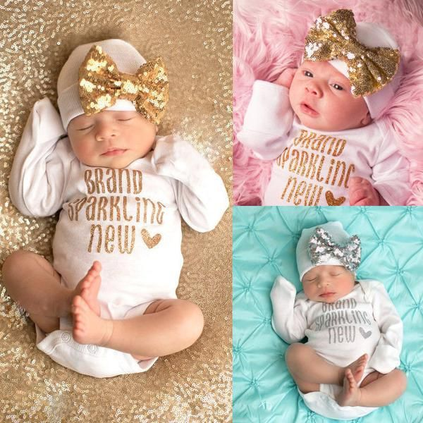 ( Brand Sparkling New ) Baby Girl Romper Onesie Set. Romper and Hat with Bow.