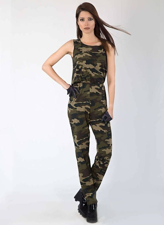 5f4e152230 Camouflage backless Cotton Jumpsuit